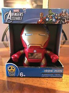 fe8521d7e075 BulbBotz Marvel 2020046 Iron Man Plastic Alarm Clock 7.5 Inches Tall ...