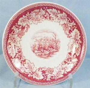 Image is loading 2-Currier-&-Ives-Saucers-Homer-Laughlin-Red-  sc 1 st  eBay & 2 Currier \u0026 Ives Saucers Homer Laughlin Red Transferware Vintage ...
