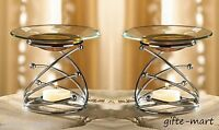 5 Modern Glass Metal Silver Wax Tart Warmer Oil Burner Candle Holder Party Favor