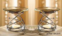 2 Modern Glass Metal Silver Wax Tart Warmer Oil Diffuser Candle Holder Burner