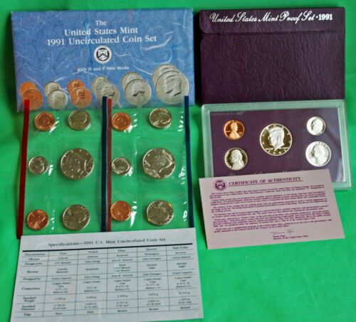 1991 Proof and Uncirculated Annual US Mint Coin Sets PDS 15 Coins