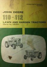 John Deere 110 & 112 Lawn & Garden Tractor Owners Operator Manual 36pg Riding