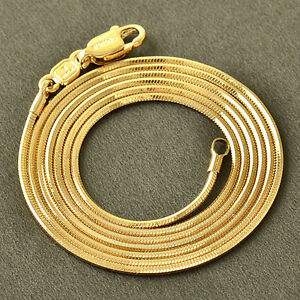 10K-Rose-Gold-Filled-GF-Smooth-Snake-Bone-Chain-Necklace-60-5cm-Long1mm-Round