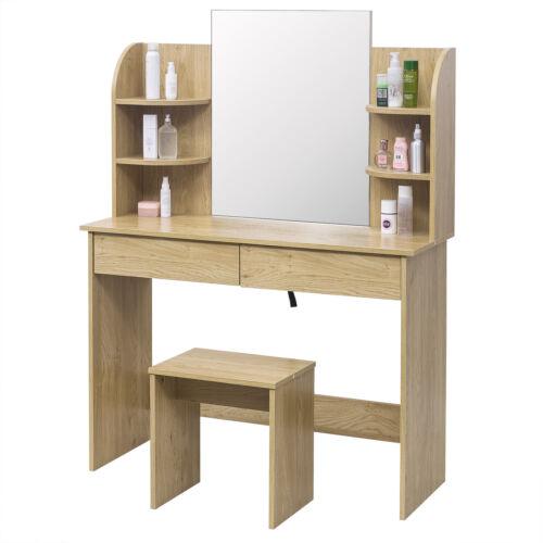 Schminktisch mit Spiegel Hocker Große Tischplatte Schreibtisch Eiche MB6044ei