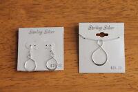 Sterling Silver 925 Infinity Symbol Earrings Pendant Necklace Earrings Set