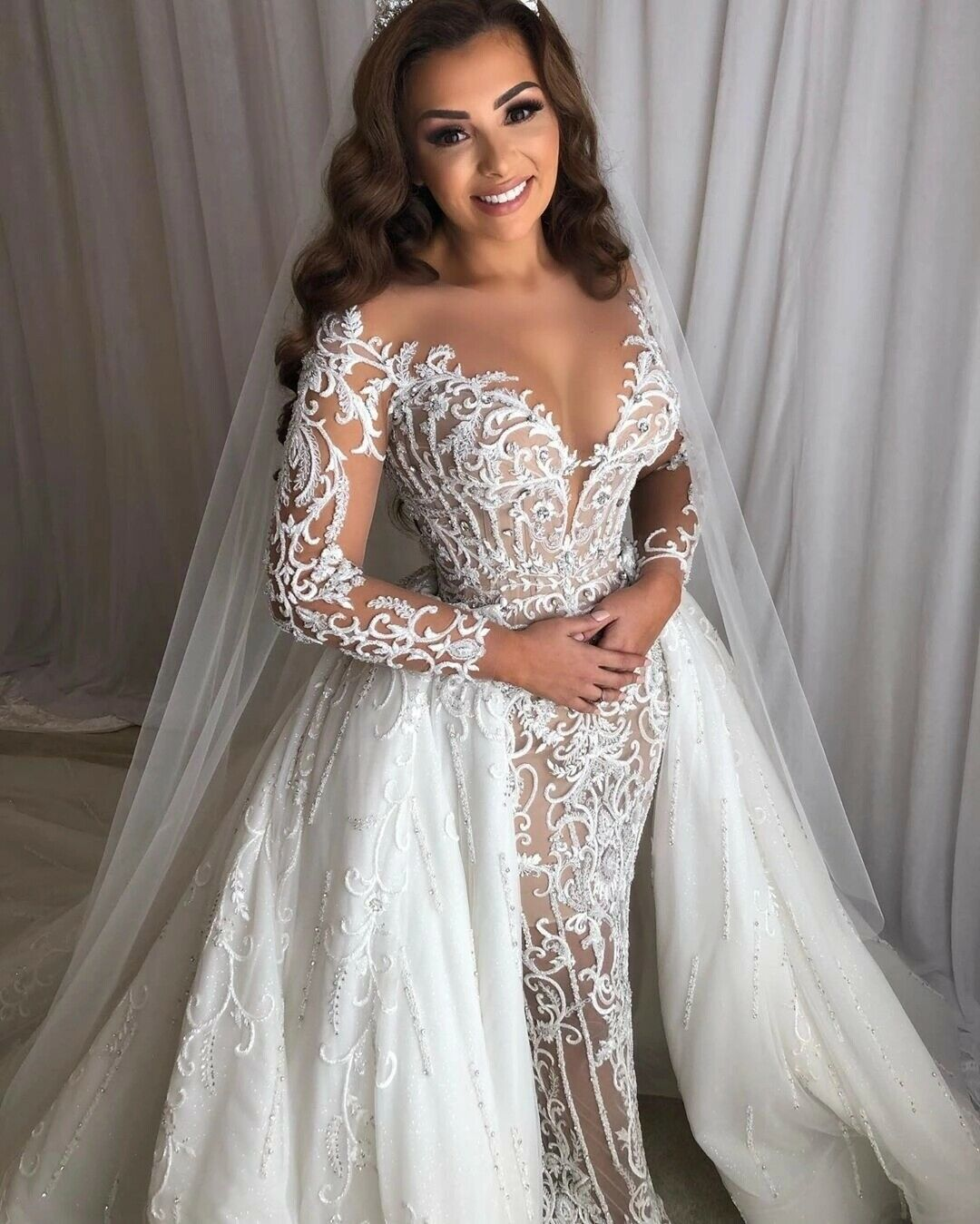 Mermaid Wedding Dresses with Removable Skirt Luxury Beaded Princess Bridal Gown