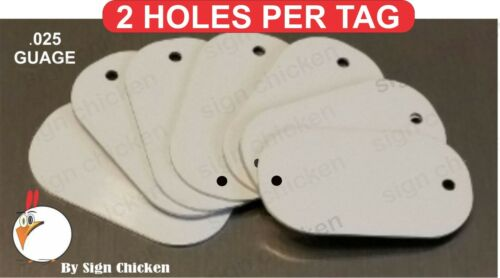 White Aluminum Dye Sublimation Dog Tag Blank for BRACELETS ** TWO HOLES ** 50 PC