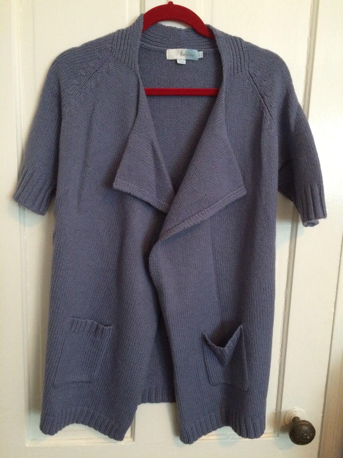 BODEN Open Front Wool Alpaca Cardigan Sweater Knit Short Sleeve Women US 4