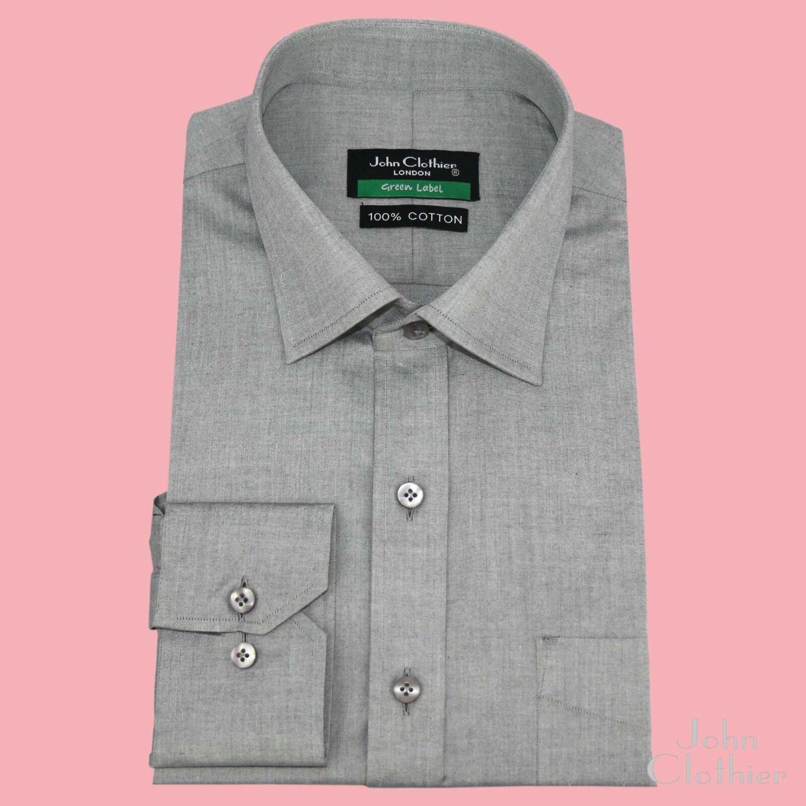 New Grau Milange Soft Cotton  Herren Shirts Semi Spread Cut Away collar Long sleeve