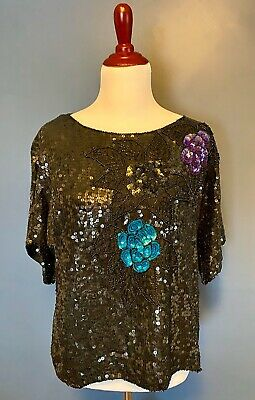 Gold and Black Sequined Short Sleeve Floral Beaded Blouse