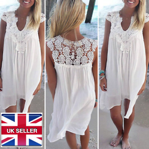 Crochet Paisley Floaty Summer Beach Cover Up Dress White Kaftan Uk Size 8 16 Ebay
