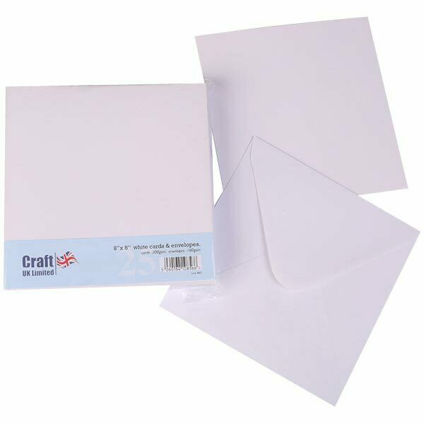 Craft UK 8in x 8in Card Blanks & Envelopes White | 25 pack