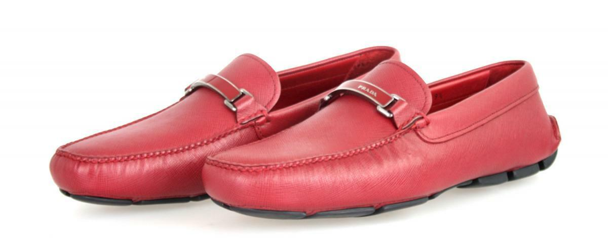 AUTHENTIC LUXURY PRADA SAFFIANO LOAFER SHOES 2DD099 RED NEW 9,5 43,5 44
