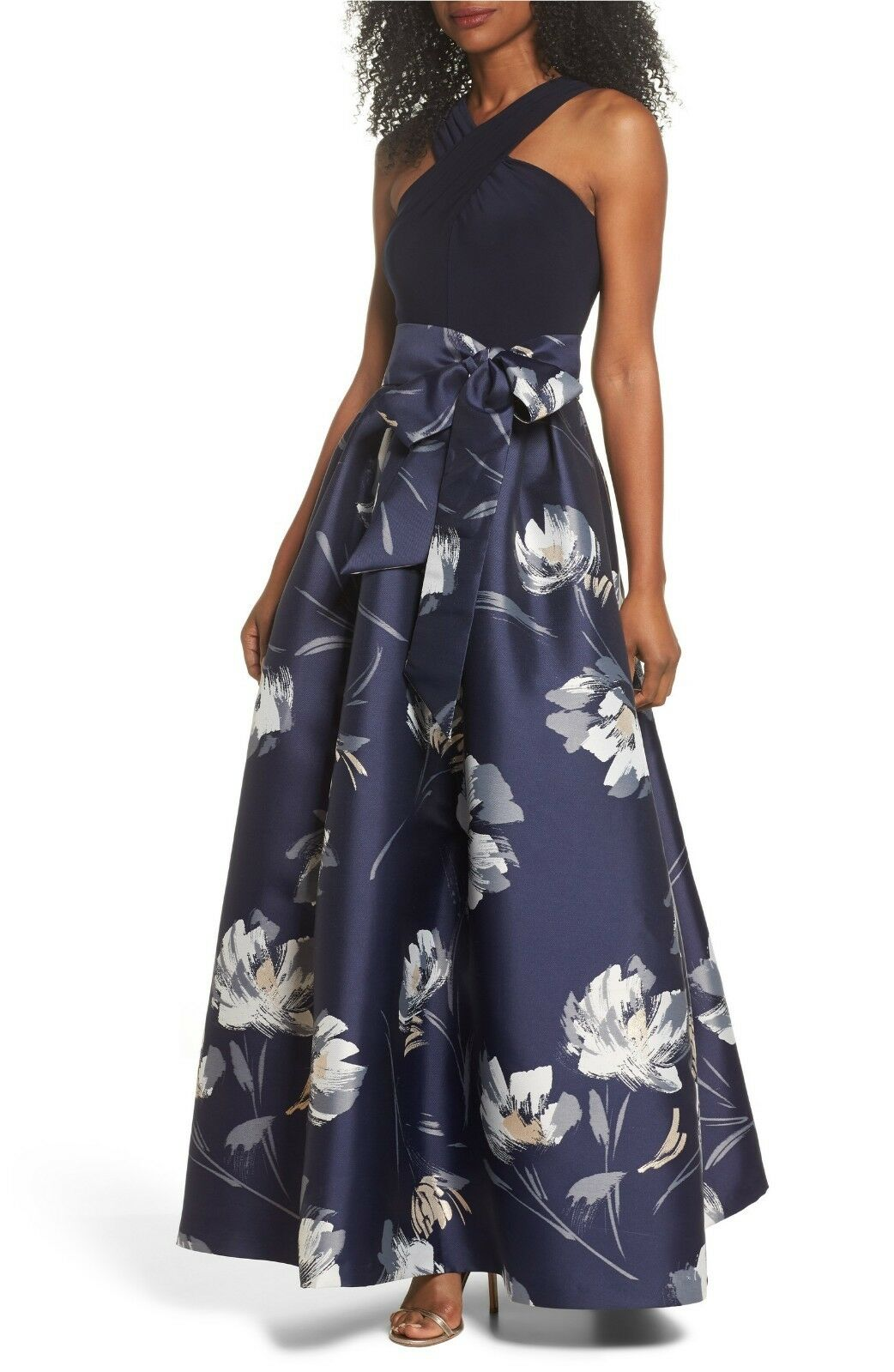 ELIZA J Navy bluee Jersey Criss-Cross Top Top Top Floral Jacquard Bow Sash Ball-Gown 14 2fa816