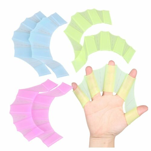 1Pair Silicone Hand Fins Frog Webbed Golves Swimming Finger Flippers Palm Paddle