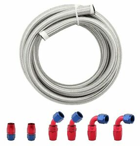 10AN-AN10-Stainless-Steel-Braided-Fuel-Oil-Coolant-Line-Hose-amp-Hose-End-Kit-3M