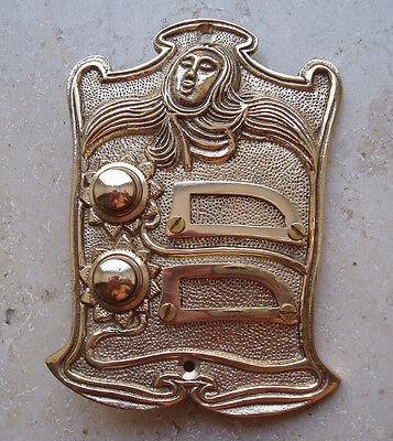 Geschenknet Antik Messing Klingel 2 Jugendstil Klingelschild Klingelplatte  K19P