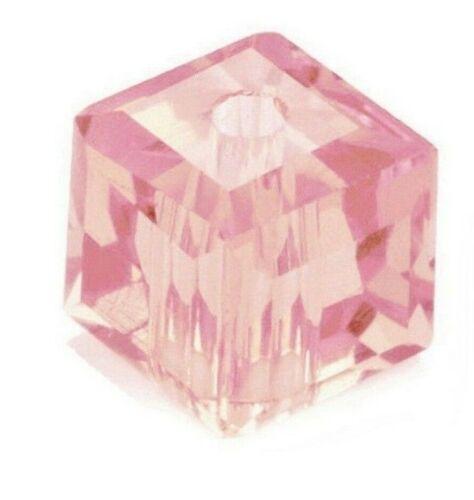 Cuentas de vidrio cristal checa perlas rosa 6 mm cristal cubo esmerilado Best x230