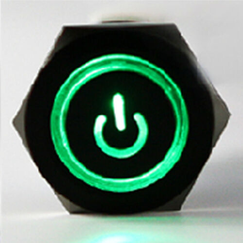 Black 19mm Green LED Light 12V Push Button Metal Switch Socket Plug SM Sales
