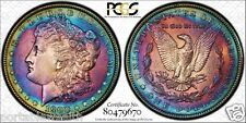 1900 $1 Morgan Silver Dollar PCGS Vivid Rainbow Halo Angelic Toning  Code 91
