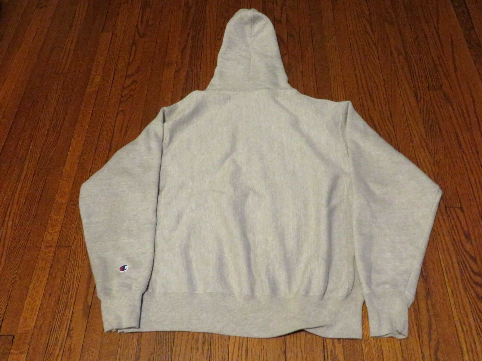 Uomo's Champion Reverse Weave Weave Weave Big C logo Oxford grigio Pullover Hoodie sz L 32532d