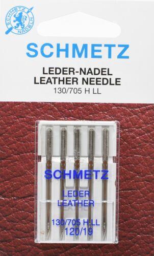 5 Schmetz Nähmaschinen Ledernadeln Sys 130//705 HLL NM 120 Flachkolben