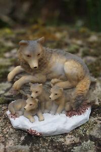 Mo0040 Figurine Statuette Famille Loup Louve Animal Sauvage Tbtnwwyb-07224956-484667428