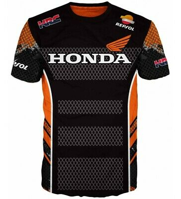 Honda T Shirt HRC Repsol Tee New 3D Logo Racing Team Top Black Size Motrorcycle