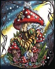 Blacklight Cloth Tapestry Wall Hanging Silk Screen MUSHROOM CATERPILLAR