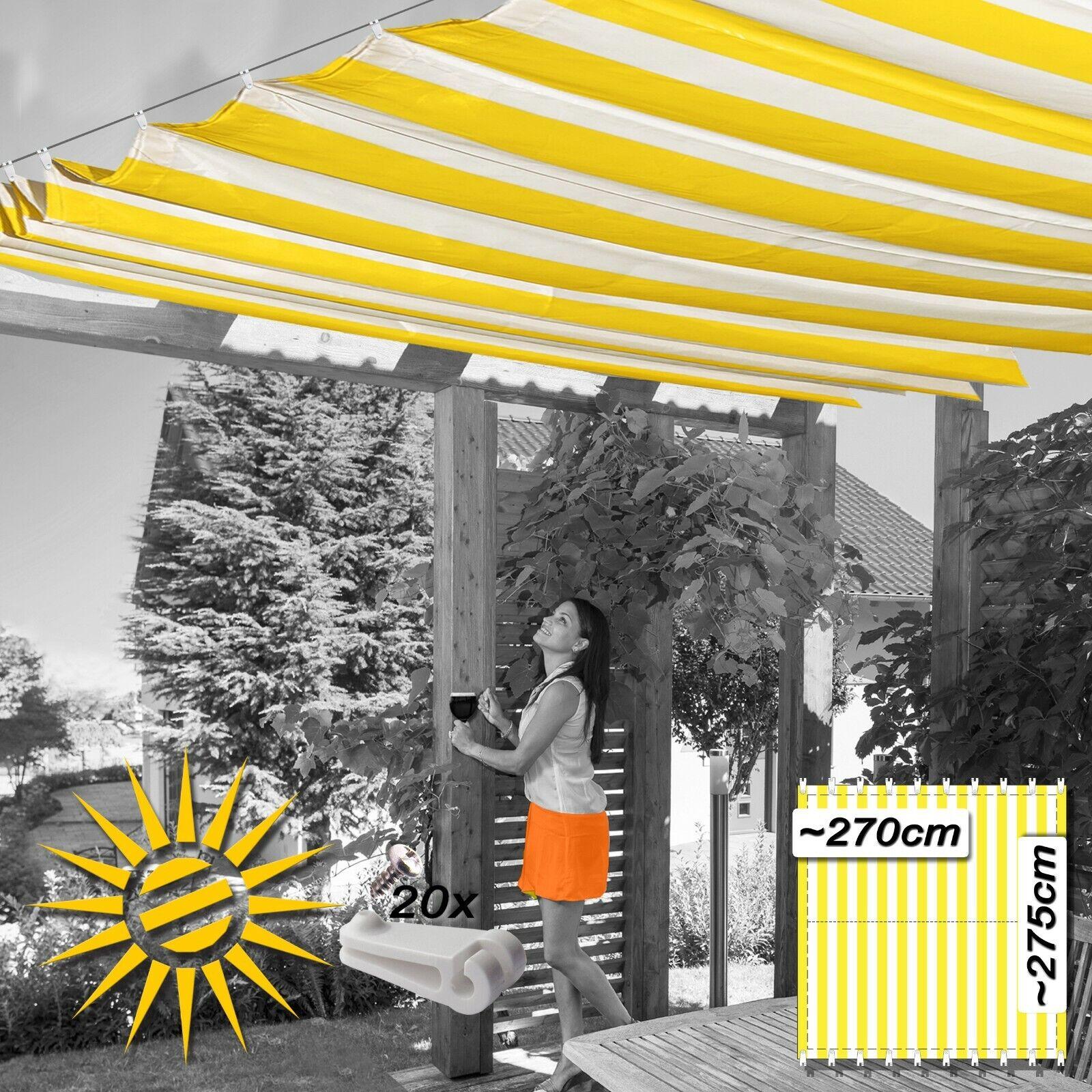 Toldo vela amarillo Weiss aprox. 270x275 cm 20 ganchos de ejecución jardín de invierno siguiendo a los sujetos UV