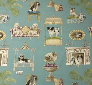 P-KAUFMANN-BEST-IN-SHOW-PUDDLE-BLUE-SHOW-DOGS-PUPPY-FABRIC-2-YARDS-54-034-W