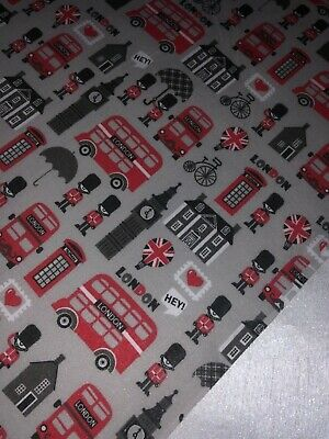 "1 Meter White//Red London Print Designer Cotton Fabric 45""Wide Dress Craft"