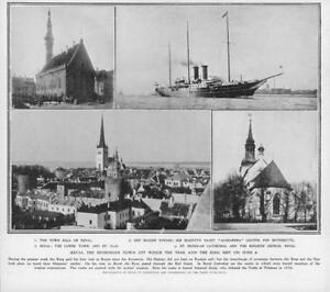 1908-Antique-Print-ESTONIA-Reval-Russian-Royal-Visit-Town-Hall-St-Olai-403