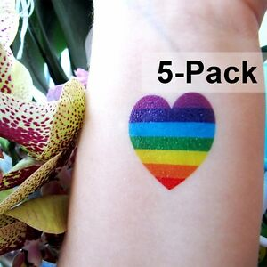 7d2463afbef37 Image is loading Rainbow-Heart-Tattoo-for-Summer-LGBT-Temporary-Tattoos-