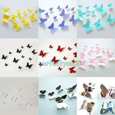 12Pcs Colorful Vinyl Wall Art Stickers 3D Butterflies Decals Home Office Decor