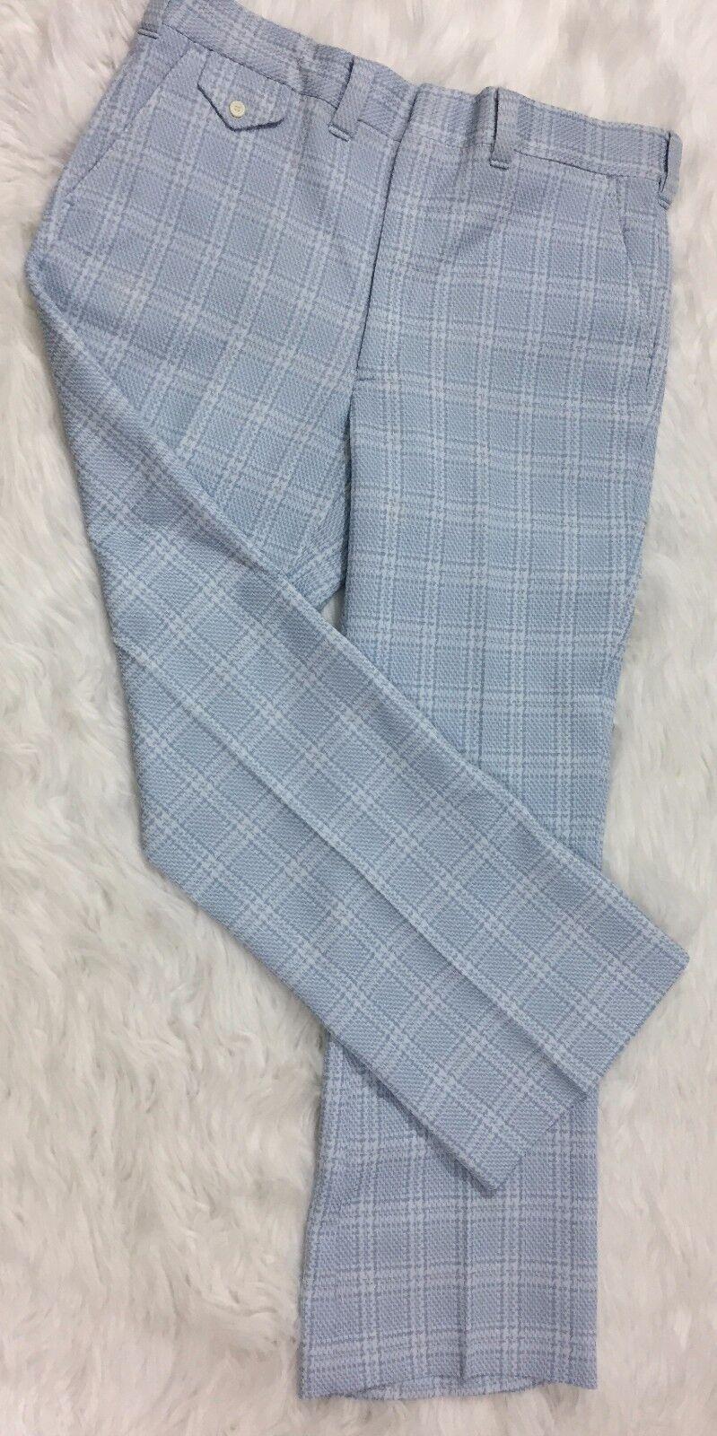 Vintage Sears Slim Fit NWT bluee Plaid 1970's Pant Size 36 Short Groovy Hippy Lg