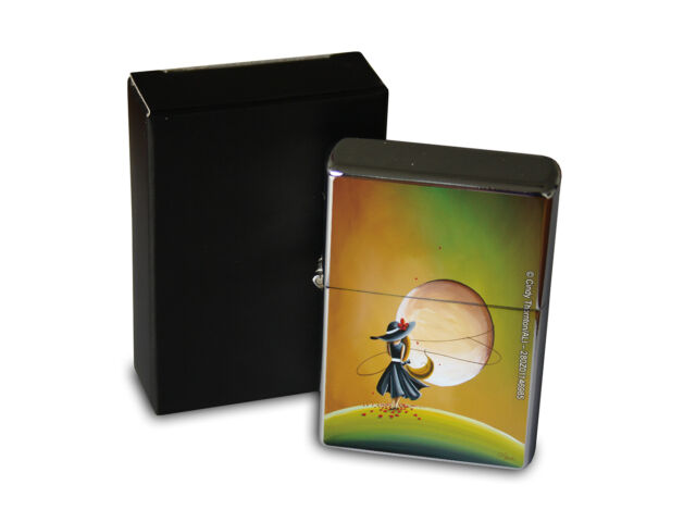Chrome Windproof Lighter Oil Refillable Fantasy Gothic Moon