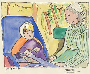 Danyk D'Arsonval - Pair of 20th Century Pen and Ink Drawings, Le Banc