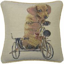 "DASCHUND DOG CREAM GOLD TAPESTRY PIPED COTTON BLEND CUSHION COVER 18"" - 45CM"