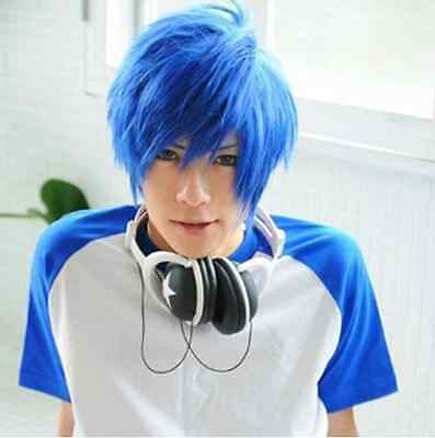 Lastest Very Soft Blue Mix Male Wig Cosplay Vocaloid Kaito Wigs New Hair