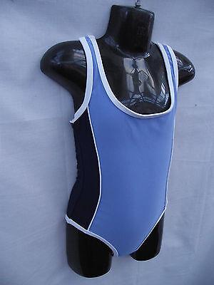 BNWT Girls Sz 10 Sun Star Brand Navy Blue Racer Back One Piece Swim Suit UPF 50+