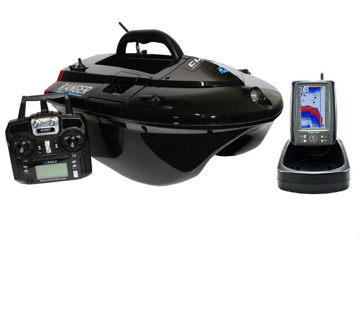 Cult Ranger Bait Boat With Lithium Batteries And Toslon TF500 Fish Finder