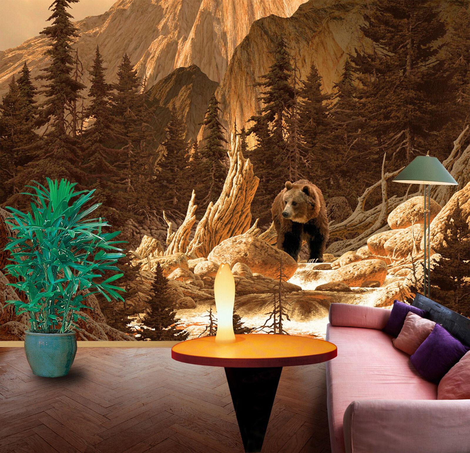 3D Berg Bär Fototapeten Wandbild Fototapete Bild Tapete Familie Kinder