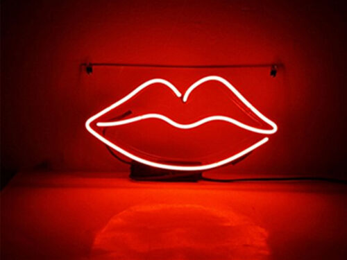 "RED LIPS Neon Sign Light Handmade Visual Artwork Room Decor Beer Bar Gift14/""x7/"""