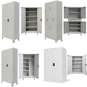 Image Is Loading Metal Storage Office Cabinet 2 4 Door Cupboard