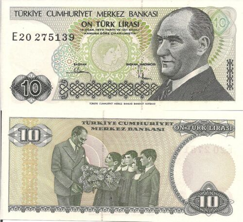 Turkey P193 10 Lira UNC  see UV /& w//m images Ataturk // Ataturk with children
