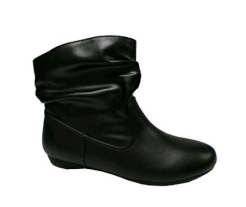 12-6 Wonder Nation Youth Girls/' Black Slouch Slip-on Bootie Boots Shoes