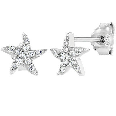 925 Sterling Silver Colorless CZ Tiny Starfish Kids Girls Stud Earrings