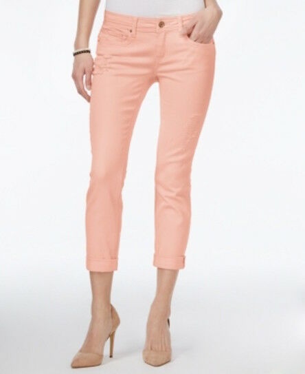 ae4ef390a8bc2c Cute Dollhouse Juniors Ripped Candy Pink Roll-up Cropped SKINNY Capri Jeans  7 for sale online