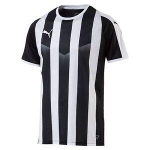f0c57fda60 Details about Puma Kids Sports Football Soccer Jersey Shirt Striped Top  Short Sleeve Crew Neck